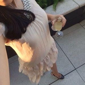 Dresses & Skirts - Chiffon Feather Trim Dress Blush S/M